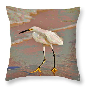 Throw Pillow featuring the photograph 6- Snowy Egret by Joseph Keane