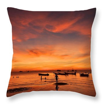 Sunrise On Koh Tao Island In Thailand Throw Pillow