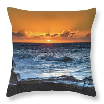 Sunrise Seascape With Sun Throw Pillow