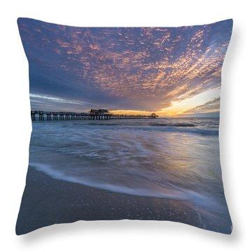 Sunset Naples Pier Florida Throw Pillow