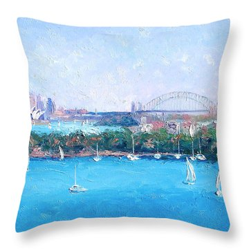 Sydney Harbour And The Opera House By Jan Matson Throw Pillow