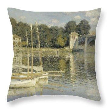 The Argenteuil Bridge Throw Pillow by Claude Monet