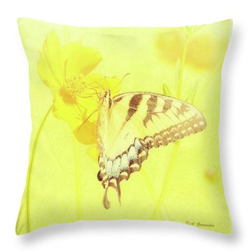 Tiger Swallowtail Butterfly On Cosmos Flower Throw Pillow