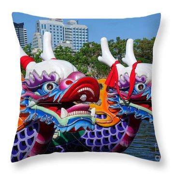 Traditional Dragon Boats In Taiwan Throw Pillow