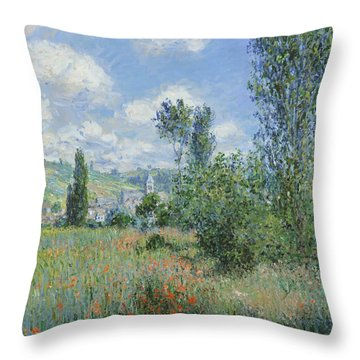 View Of Vetheuil Throw Pillow