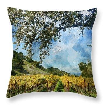 Vineyard In Napa Valley California Throw Pillow