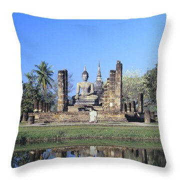 Wat Mahathat Throw Pillow by Gloria & Richard Maschmeyer - Printscapes