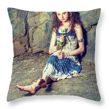 Young American Woman Missing You With White Rose In New York Throw Pillow