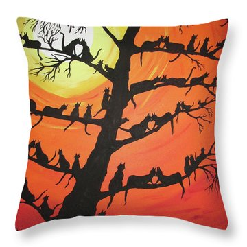 60 Cats In The Love Tree Throw Pillow