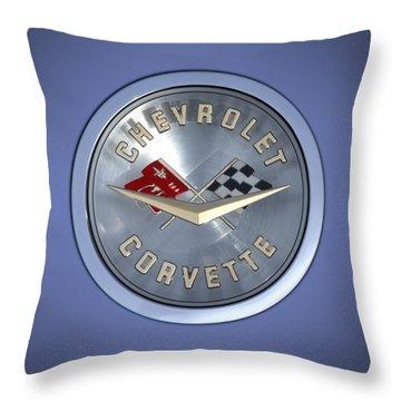 60 Chevy Corvette Emblem  Throw Pillow by Mike McGlothlen