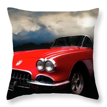 60 Corvette Roadster In Red Throw Pillow