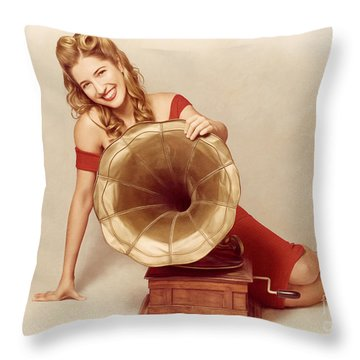 60s Pin Up Girl With Vintage Record Phonograph Throw Pillow by Jorgo Photography - Wall Art Gallery
