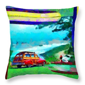 60's Surfing Throw Pillow