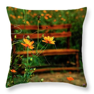 Throw Pillow featuring the photograph Galsang Flowers In Garden by Carl Ning