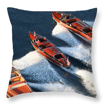 Classic Wooden Runabouts Throw Pillow