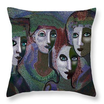 Throw Pillow featuring the digital art 649 - Gauntly Ladies by Irmgard Schoendorf Welch