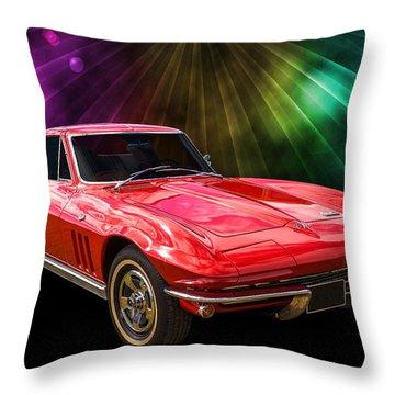 66 Corvette Throw Pillow