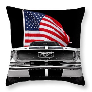 66 Mustang With U.s. Flag On Black Throw Pillow