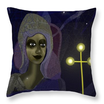 Throw Pillow featuring the digital art 673 - Young Lady With Cross by Irmgard Schoendorf Welch