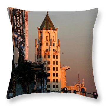 6777 Hollywood Blvd High-rise Building Throw Pillow by Wernher Krutein