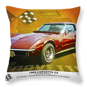 68 Corvette Throw Pillow by Kenneth De Tore