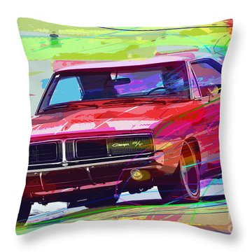 69 Dodge Charger  Throw Pillow