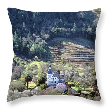 6b6312 Falcon Crest Winery Grounds Throw Pillow