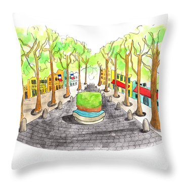 Cours Mirabeau With Trees And Fountain  Throw Pillow