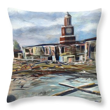 Throw Pillow featuring the painting Union University Jackson Tennessee 7 02 P M by Randol Burns