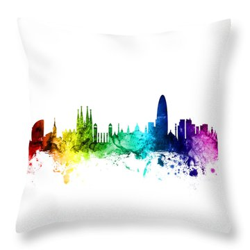 Barcelona Spain Skyline Throw Pillow by Michael Tompsett