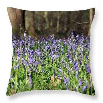 Bluebells At Banstead Wood Surrey Uk Throw Pillow