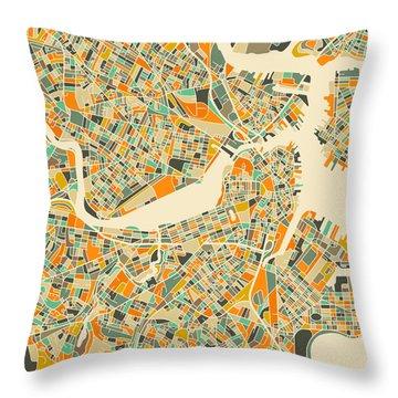 Boston Map Throw Pillow