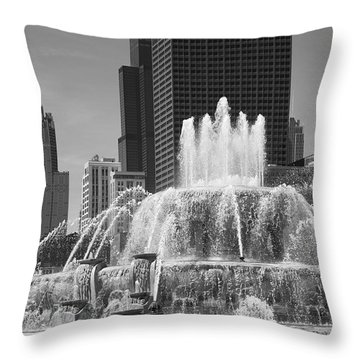 Chicago Skyline And Buckingham Fountain Throw Pillow by Frank Romeo