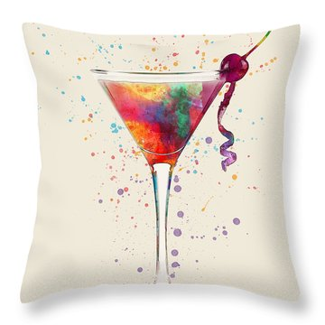 Cocktail Drinks Glass Watercolor Throw Pillow