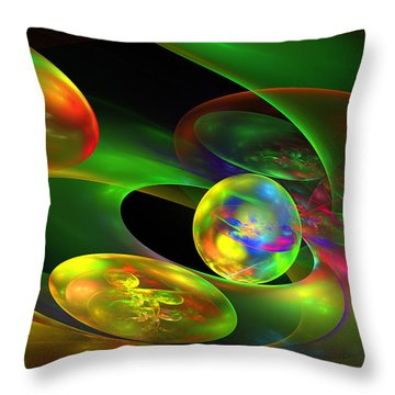 Computer Generated Planet Sphere Abstract Fractal Flame Modern Art Throw Pillow by Keith Webber Jr