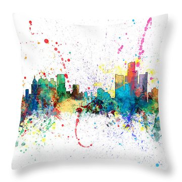 Detroit Michigan Skyline Throw Pillow