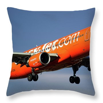 Easyjet 200th Airbus Livery Airbus A320-214 Throw Pillow