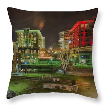 Greenville South Carolina Near Falls Park River Walk At Nigth. Throw Pillow