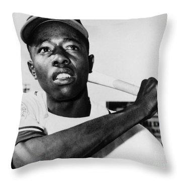 Hank Aaron (1934- ) Throw Pillow by Granger