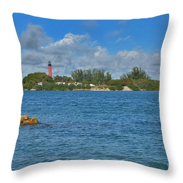 7- Jupiter Lighthouse Throw Pillow by Joseph Keane