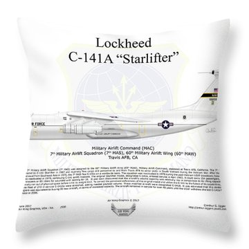 Lockheed C-141a Starlifter Throw Pillow