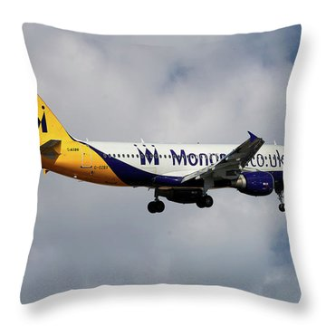 Monarch Airlines Airbus A320-214 Throw Pillow