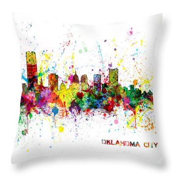 Throw Pillow featuring the digital art Oklahoma City Skyline by Michael Tompsett