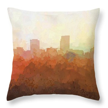 Throw Pillow featuring the digital art Omaha Nebraska Skyline by Marlene Watson