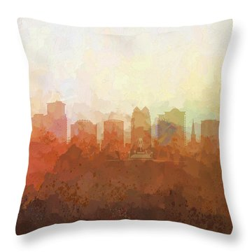 Throw Pillow featuring the digital art Orlando Florida Skyline by Marlene Watson