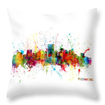 Throw Pillow featuring the digital art Richmond Virginia Skyline by Michael Tompsett