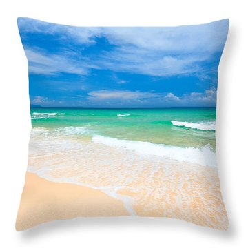 Sandy Beach Throw Pillow by MotHaiBaPhoto Prints