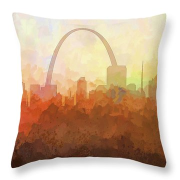 Throw Pillow featuring the digital art St Louis Missouri Skyline by Marlene Watson