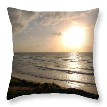 Sunset At Jaffa Beach 10 Throw Pillow by Isam Awad