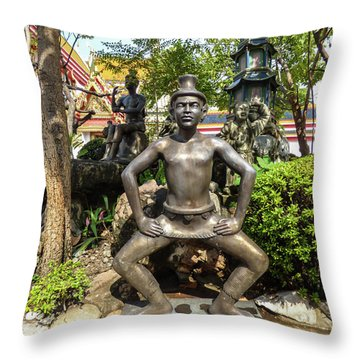 Thai Yoga Statue At Famous Wat Pho Temple Throw Pillow